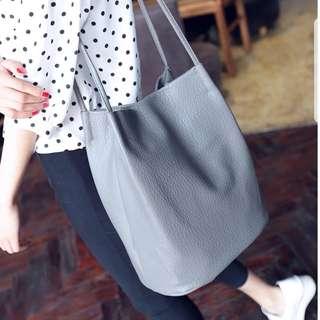 [SALE!] PU Leather Tote Bag (Grey)