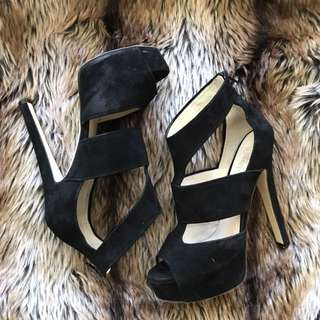 Wittner black suede heels