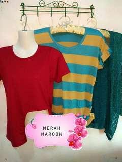 Kaos kekinian warna merah maroon