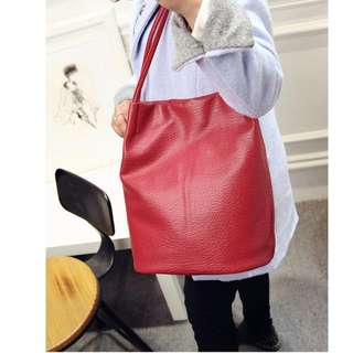 [SALE!] PU Leather Tote Bag (Red)