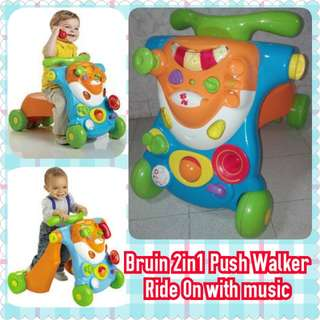 Bruin 2in1 Push Walker Ride On with Music