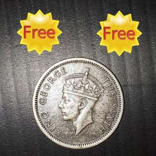 FREE !!! (Zero Cost) :  Scare 10 cents Malaya George VI Ten cents. Nice hair details  (Issue Year 1950)