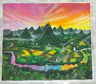 6 feet x 5 feet of canvas oil painting Li River and Nan Mountains