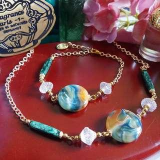 ✨ 日本油畫樹脂珠配古董磨砂珠手鍊及頸鍊組合  ✨