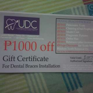Uy Dental Clinic Gift Cert. worth P1000.00