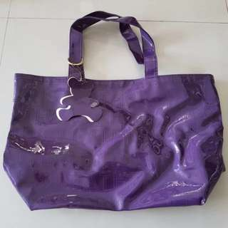 Waterproof tote bag purple and grey