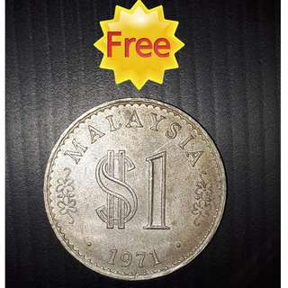 FREE !!! (Zero Cost) : Old Coin MALAYSIA 1 RINGGIT (Issue Year 1971 )