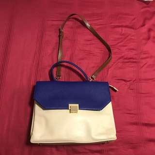 pedro blue beige brown bag