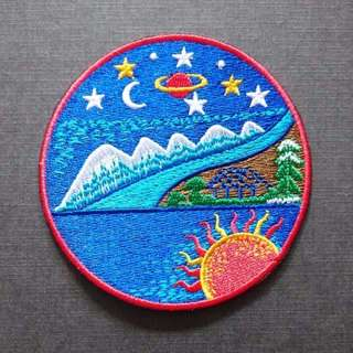 Earth Sun Moon Stars Mountain Iron On Patch