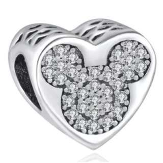 Heart White Mickey Charm