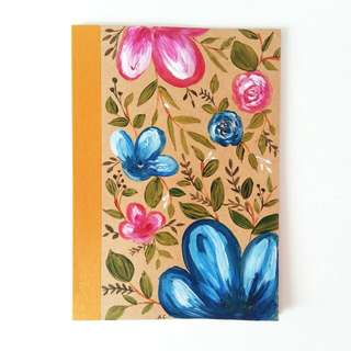 Blue And Pink Floral A5 Muji Lined Notebook