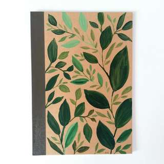 Green Leaves Design A5 Muji Lined Notebook