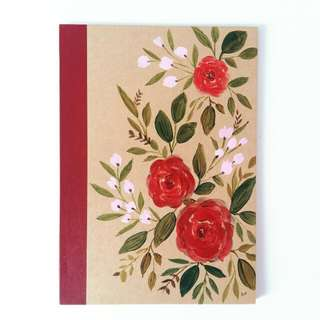 Red/pink Floral Design A5 Muji Lined Notebook