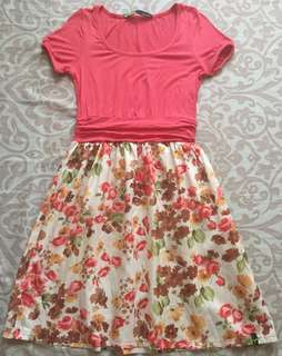 Punch Pink Floral Dress | Small