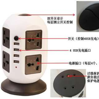 multi layer multiple Universal sockets and multiple USB adeptor. Many options singapore 3 pin plug