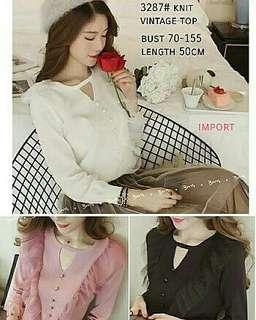 Baju rajit wanita vintage knit blouse rajut baju rajut knit vlouse