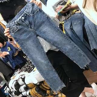 PO Large Size Elastic Denim Jeans