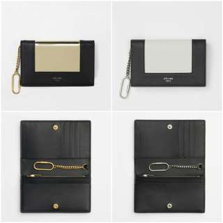 Celine Frame Coin And Card Purse On Chain In Metallic Calfskin And Smooth Lambskin