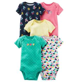 CAGL175 Carter's 5-Pack Short-Sleeve Original Bodysuits Rompers