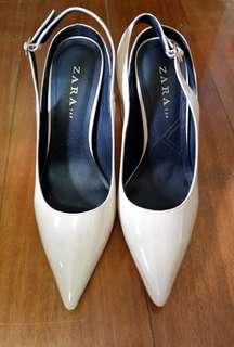 Zara Nude Patent Heels