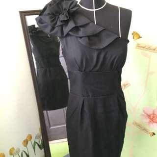 Dress party modern/ hitam polos