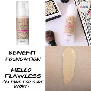 BN Benefit Cosmetics Hello Flawless Oxygen Wow Foundation - I'm Pure 4 Sure Ivory