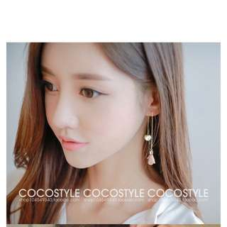 Korean Tassel Pearl Earrings