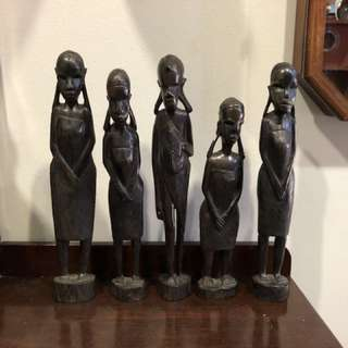 Old African Hand Carved Wooden Tribal Woman Figurine