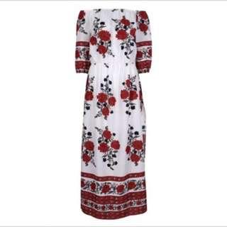 White Red Off Shoulder Dress