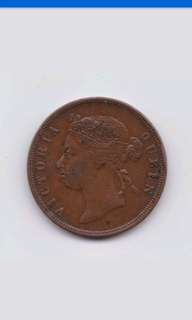 Old Coin Strait settlement Queen Victoria 1 cent 1874