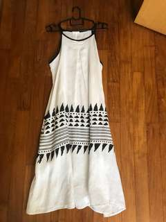 White and Black Linen Dress