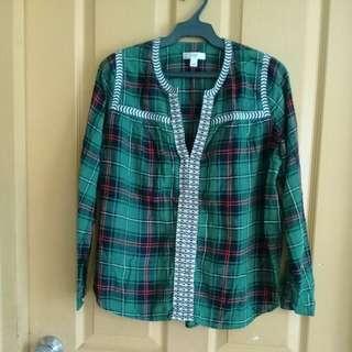 Green plaid l/s shirt