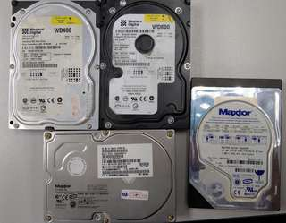 Assorted harddisk,  20GB, 20GB, 40GB, 80GB