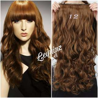 5 Clips Curly Hair Extensions Dark Caramel Gold