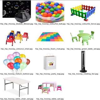 Party Extra - Party Bags, Kids Chairs/Stools/Table Set, Colourful Air-filled Balls, Playmats/Floor Mats/ Foam Mats, Rotating Fans, Adult Table/Stools Set, Kids Plastic Fence, Bubble Machine