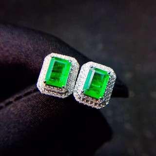 18K白金 祖母綠鑽石耳釘