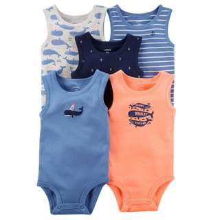 CABY112 Carter's 5-Pack Tank Top Bodysuits Rompers