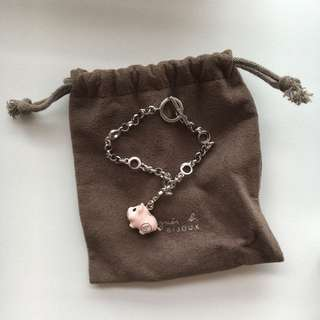 Agnes B Silver Bracelet with Piggy Charm