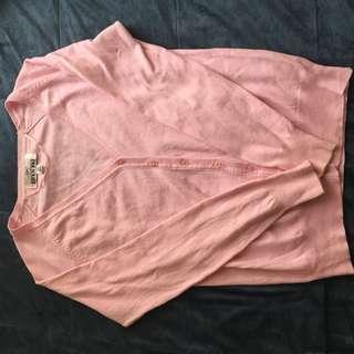 「二手」粉嫩色 開襟外套 毛衣外套 開襟衫