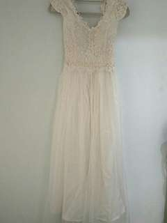 White long lace beaded bridemaid dress