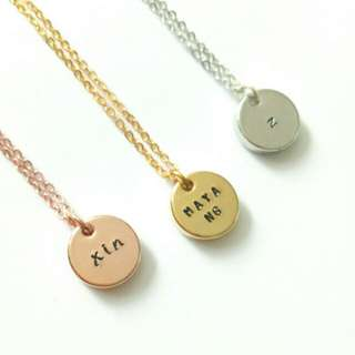 Custom Hand-Stamped Personalised Name Disc Necklace