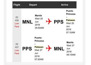 Roundtrip Ticket Manila- Puerto Princesa for 3