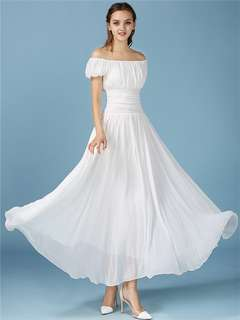 AO/KZC071318 - Quality Fashion Puff Sleeve Pleated Flouncing White Fairy Dress