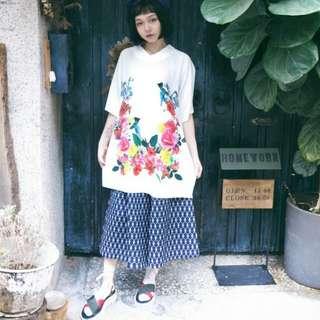 🚚 Little treasure 蜂鳥花圈開袖洋裝 pinkoi設計師