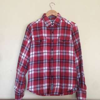 Abercrombie & Fitch Men's Plaid / Flannel Longsleeves Polo