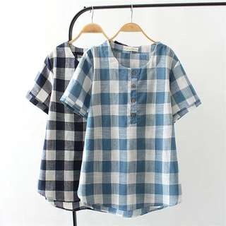 (XL~4XL) l2018 summer Korean fashion plaid short-sleeved T-shirt long paragraph loose shirt