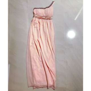 Pink Evening Toga Gown with Embellishment