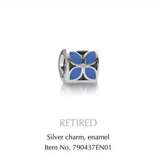 Authentic Pandora Silver With Blue Enamel Flower Charm
