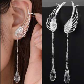 925 Sterling Silver Angel Wing Stylist Crystal Earrings Drop Dangle Ear Stud For Women Long Cuff Earring ER623