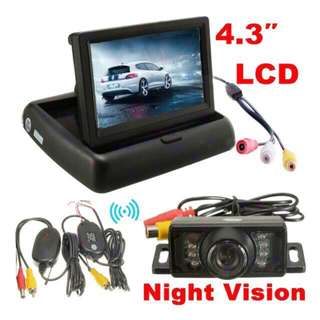Car Reverse / Back Up / Rear Camera With Retractable LCD (Complete Set with Wireless Transmit & Receive Antennas)